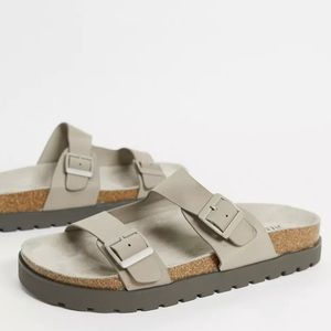 ASOS Bershka Slider Sandals with Buckles in Taupe